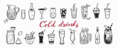 Sistema exhausto de la mano del vector de bebidas, de cócteles del verano y de bebidas fríos con las frutas Diversos garabatos pa libre illustration