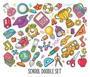 Sistema exhausto de la mano de garabatos de la escuela en vector del color libre illustration