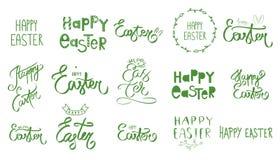 Sistema exhausto de la mano gran de la muestra feliz del día de Pascua La colección grande de colores verdes da bosquejado Texto  libre illustration