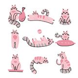 Sistema exhausto de los gatos de la mano divertida Ejemplo escandinavo del estilo de los animales del garabato rosado del vector  stock de ilustración