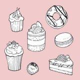 Sistema exhausto de tortas, buñuelo, macarrones, caramelo, molletes de la mano en fondo rosado libre illustration
