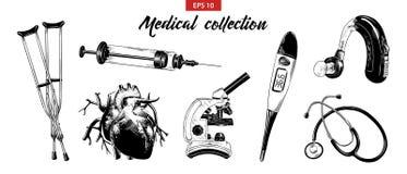 Sistema exhausto del bosquejo de la mano de equipamiento médico y de elementos aislados en el fondo blanco Dibujo detallado de la ilustración del vector