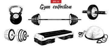 Sistema exhausto del bosquejo de la mano del gimnasio y equipo de la aptitud, peso, pesa de gimnasia, bola del bosu y paso-plataf ilustración del vector