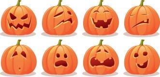Sistema expresivo divertido del vector de la calabaza de Halloween Imagen de archivo