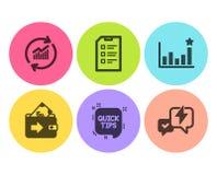 Sistema extremidades, de los iconos rápidos de la cartera y de la eficacia Ponga al día los datos, las muestras de la lista de co stock de ilustración