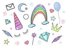 Sistema fabuloso, mágico del icono del vector Cuerno del unicornio, arco iris, diamante y vara mágica stock de ilustración