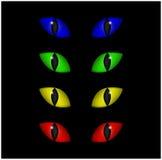 Sistema fantasmagórico del vector de los ojos de Halloween aislado en fondo negro Ejemplo del mal, iris enojado peligroso, salvaj Foto de archivo libre de regalías