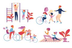 Sistema feliz de la actividad del deporte de la familia aislado en blanco ilustración del vector