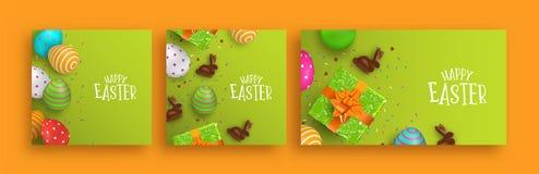 Sistema feliz de la bandera del día de fiesta de la primavera de Pascua 3d ilustración del vector