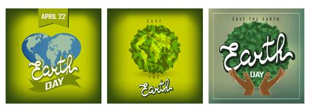 Sistema feliz de los carteles del Día de la Tierra libre illustration