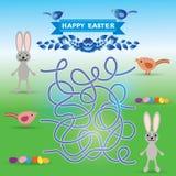 Sistema feliz de Pascua Conejo, huevos, pájaro juego del laberinto para los niños preescolares Vector ilustración del vector