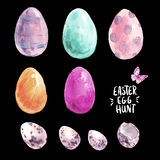 Sistema feliz de Pascua de la acuarela, huevos coloreados, libre illustration