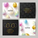 Sistema feliz de Pascua de tarjetas Fondo hermoso con los huevos coloridos y el confeti de oro Ejemplo del vector para las tarjet stock de ilustración