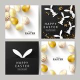 Sistema feliz de Pascua de tarjetas Fondo hermoso con los huevos de oro, los conejitos de papel y la serpentina Ejemplo del vecto ilustración del vector