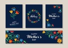 Sistema feliz del día de madres de etiquetas y de tarjetas de la flor ilustración del vector
