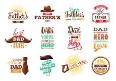 Sistema feliz del día de padres Tipografía del vector ilustración del vector