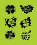 Sistema feliz del día de Patricks de emblemas Logotipos para el día de fiesta irlandés del grunge Foto de archivo