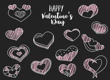 Sistema feliz del drenaje de la mano del día de tarjetas del día de San Valentín de corazones cretáceos Lineart en un fondo negro Imagen de archivo libre de regalías