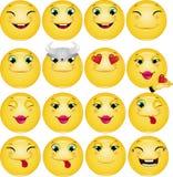 Sistema feliz del vector de los Emoticons Fotos de archivo