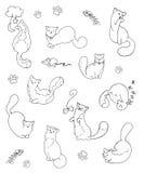 Sistema feliz del vector del esquema de los gatitos Foto de archivo