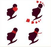 Sistema femenino del logotipo de la silueta Fotografía de archivo libre de regalías