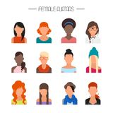Sistema femenino del vector de los iconos del avatar Caracteres de la gente en estilo plano Elementos del diseño en fondo Fotos de archivo libres de regalías