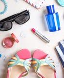 Sistema femenino del verano de accesorios Imagen de archivo libre de regalías