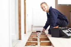 Sistema femminile di Fitting Central Heating dell'idraulico Immagini Stock Libere da Diritti