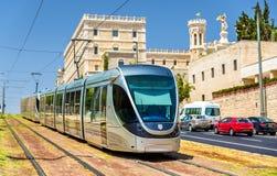 Sistema ferroviário leve no Jerusalém - Israel Fotos de Stock