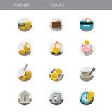 Sistema financiero de iconos aislados en blanco stock de ilustración