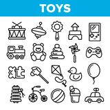 Sistema fino de los iconos del vector linear de los juguetes de los ni ilustración del vector