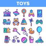 Sistema fino de los iconos del vector linear de los juguetes de los ni?os stock de ilustración