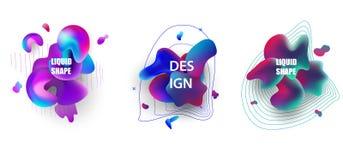 Sistema flúido de las insignias del color El extracto forma la composición Vector Eps10 dimensiones de una variable 3d stock de ilustración
