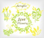 Sistema floral de acrílico compuesto en la boda o la otra tarjeta del día de fiesta Fotografía de archivo libre de regalías