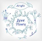Sistema floral de acrílico compuesto en la boda o la otra tarjeta del día de fiesta Fotos de archivo libres de regalías