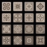 Sistema floral de cerámica portugués de la teja de mosaico de Brown Vector ilustración del vector