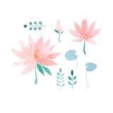 Sistema floral de la acuarela con las flores de loto Fotos de archivo