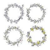 Sistema floral de la guirnalda stock de ilustración