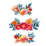 Sistema floral de la guirnalda de la acuarela del vector con las hojas y las flores del vintage Diseño artístico para las bandera Imagen de archivo