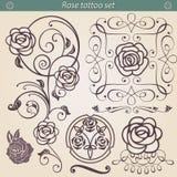 Sistema floral de la silueta del tatuaje de Rose, elemento para el diseño Fotografía de archivo