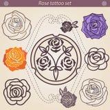 Sistema floral de la silueta del tatuaje de Rose, elemento para el diseño Foto de archivo libre de regalías