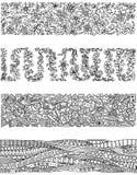 Sistema floral de las fronteras horizontales para su diseño Fotografía de archivo