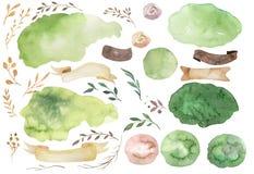 Sistema floral del boho de la acuarela Marco natural bohemio: hojas, plumas, flores, aisladas en el fondo blanco artístico ilustración del vector