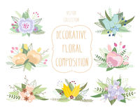 Sistema floral en colores pastel de la composición Flores decorativas Fotos de archivo