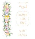Sistema floral en colores pastel de la frontera Frontera floral floreciente decorativa Ilustración del vector Foto de archivo