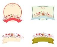 Sistema floral retro del marco y de la cinta Foto de archivo libre de regalías