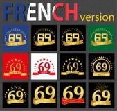 Sistema francés de plantillas del número 69 stock de ilustración