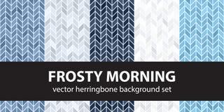 Sistema Frosty Morning del modelo de la raspa de arenque Fondos inconsútiles del entarimado del vector stock de ilustración
