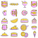 Sistema garabateado del icono de la comida Fotografía de archivo libre de regalías