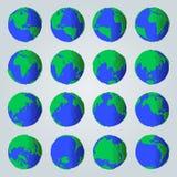 Sistema geométrico de tierra abstracta del planeta del estilo de la historieta para los iconos o los ejemplos ilustración del vector